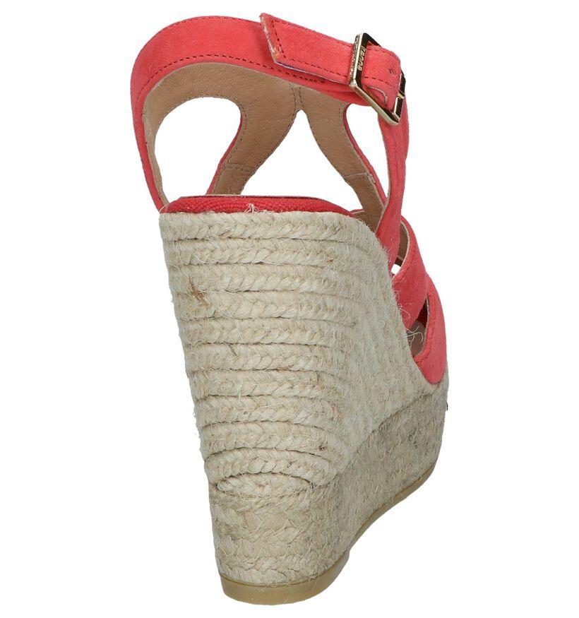 Lichtrode Sandalen met Sleehak Kanna in nubuck (246582)