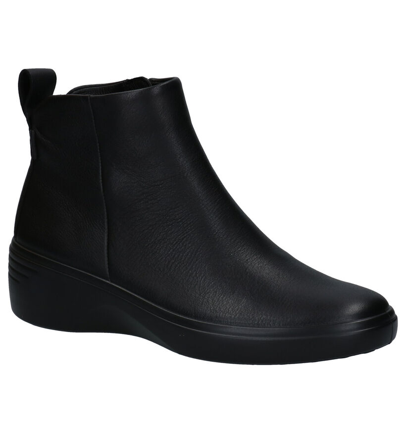 ECCO Soft Wedge 7 Zwarte Enkellaarzen in leer (280881)
