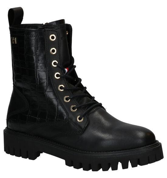 Tommy Hilfiger Croco Look Zwarte Boots