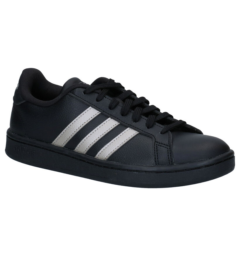 adidas Grand Court Zwarte Sneakers in kunstleer (273824)