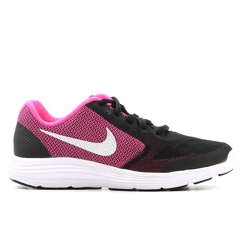 Nike Revolution 3 GS Zwart met Roze Runners in stof (211633)