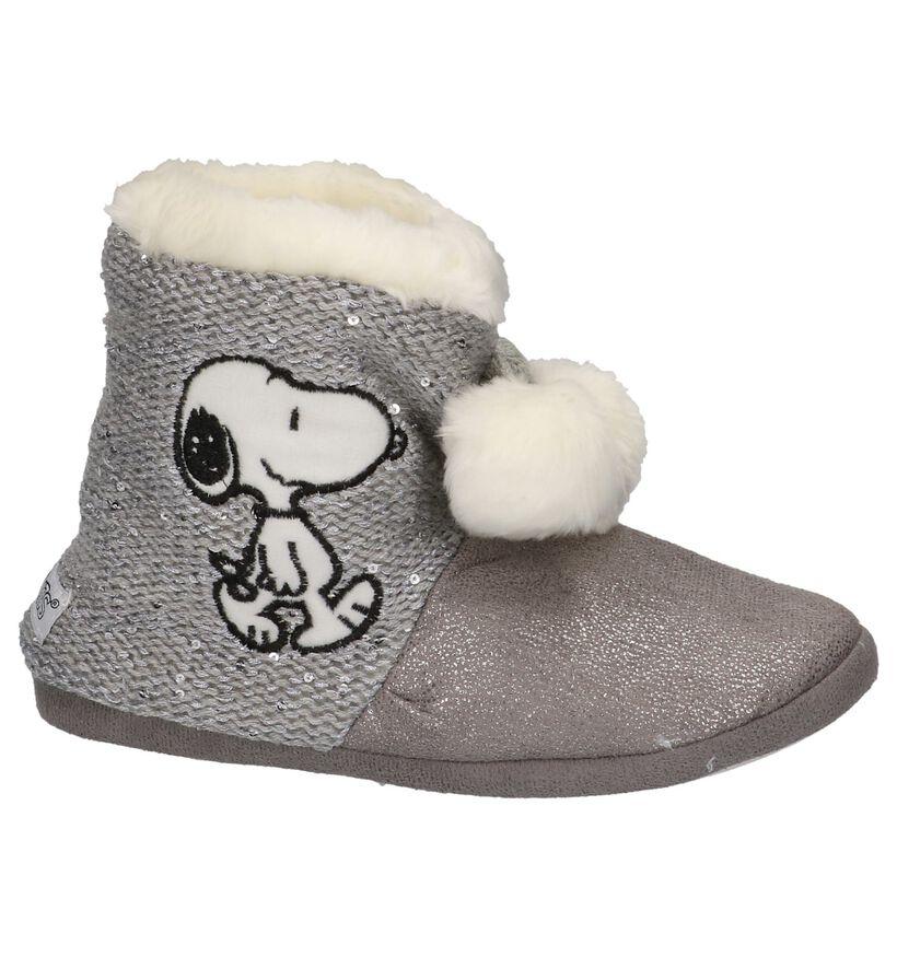 Grijze Snoopy Pantoffels in stof (201600)