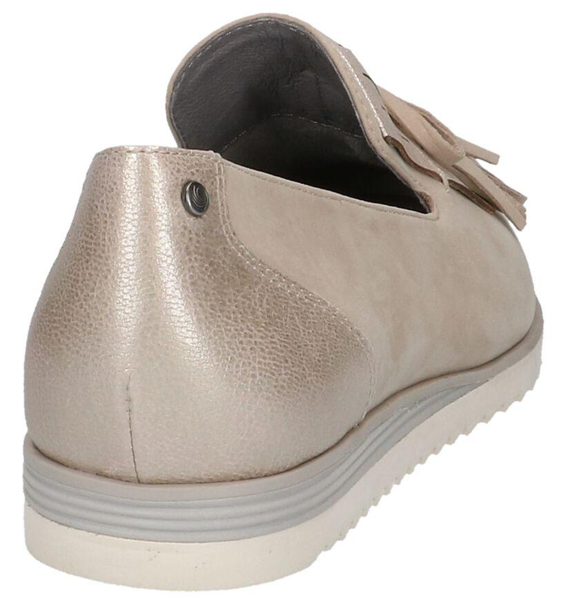 Taupe Loafers Be Natural met Kiltie in leer (214039)