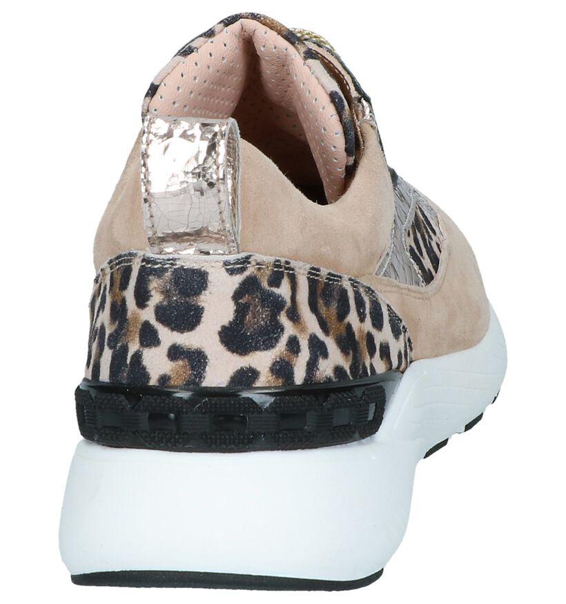 Beige/Zwarte Sneakers Maripé in leer (248828)