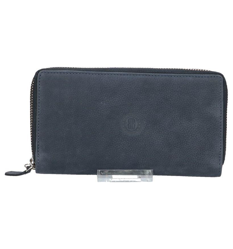 Donkerblauwe Euro-Leather Portemonnee met Rits in nubuck (220957)