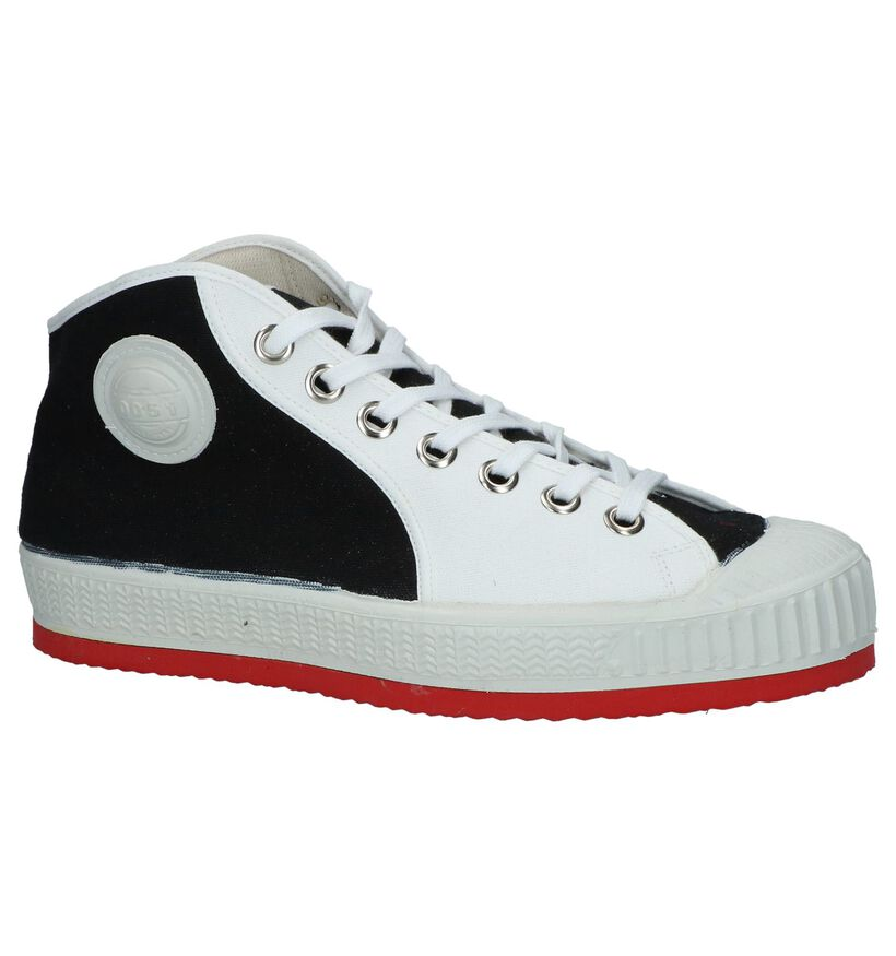 Zwart/Witte Hoge Sneakers 0051 Anton in stof (253198)