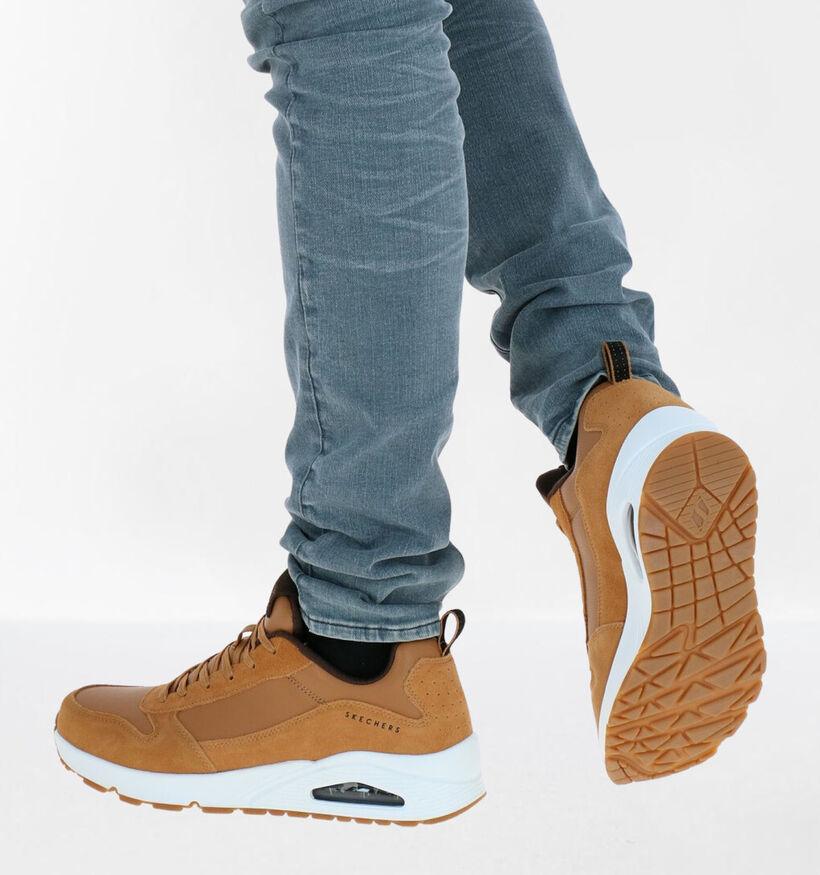 Skechers Uno Stacre Naturel Sneakers in kunstleer (279368)