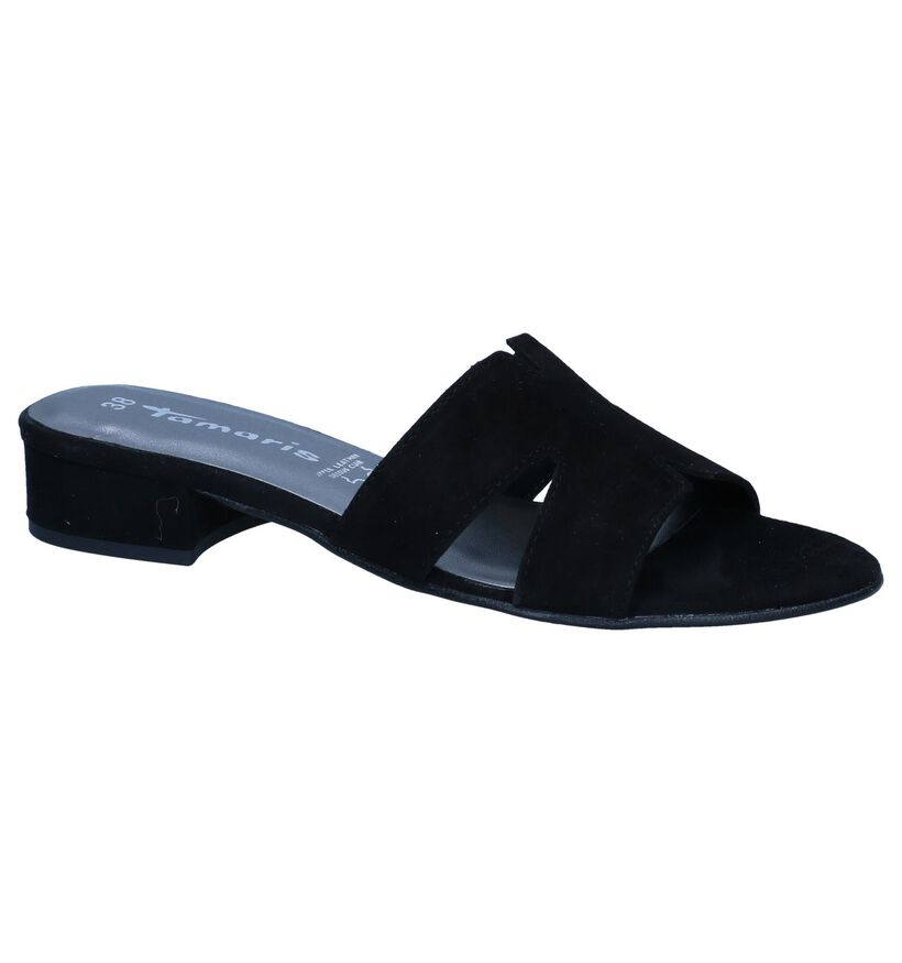 Zwarte Slippers Tamaris in nubuck (244205)