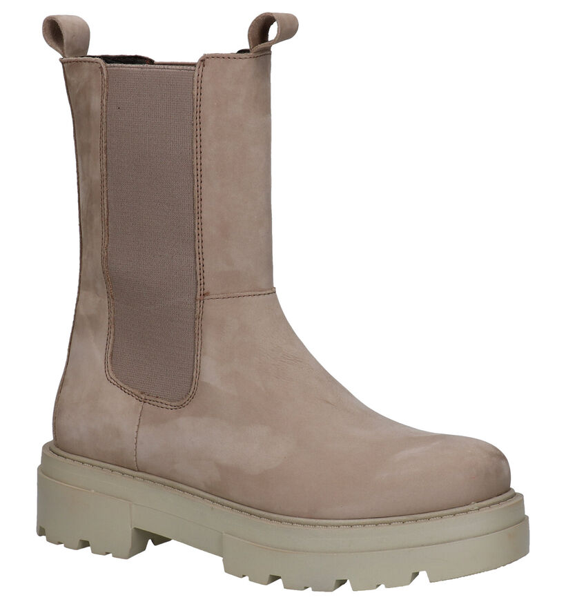 Poelman Taupe Chelsea Boots in nubuck (293937)