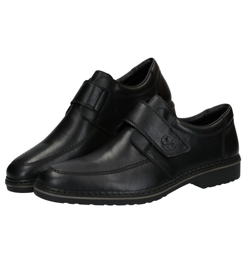 Rieker Zwarte Klittenbandschoenen in leer (281734)