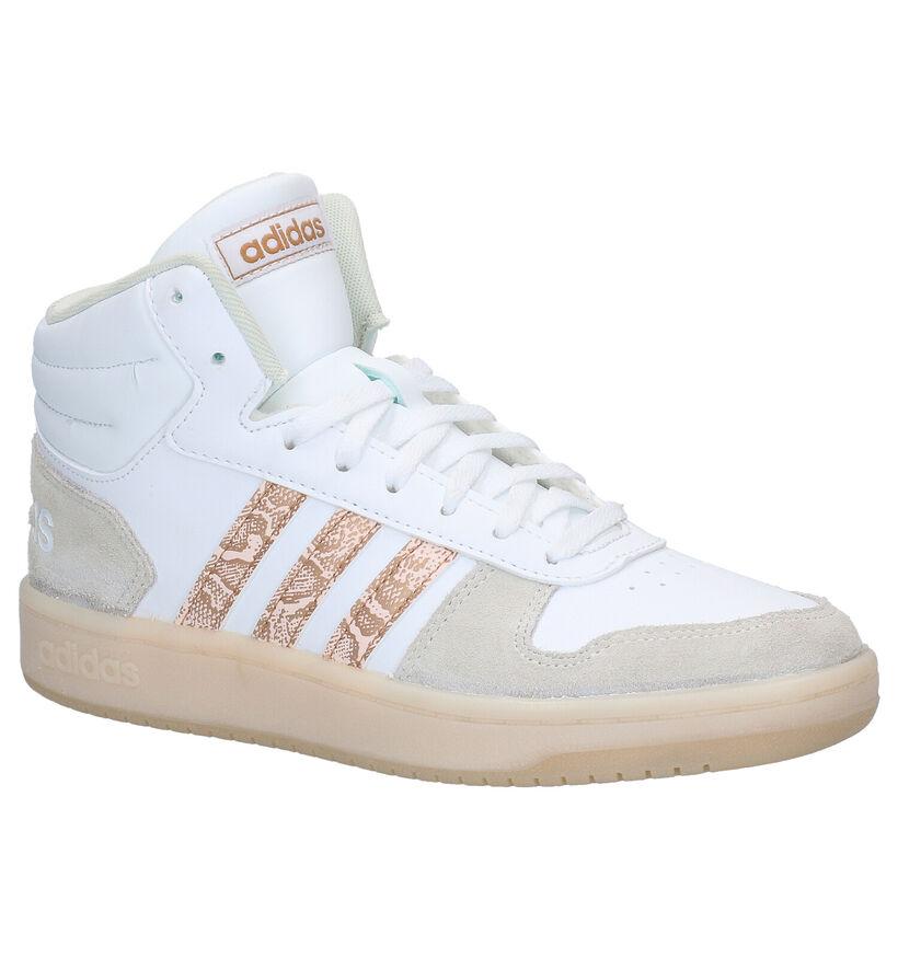 adidas Hoops 2.0 Mid Witte Sneakers in kunstleer (282999)