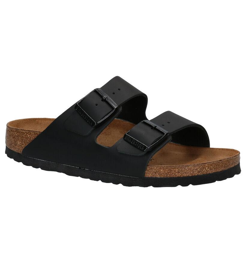 Birkenstock Arizona Zwarte Slippers in leer (281712)