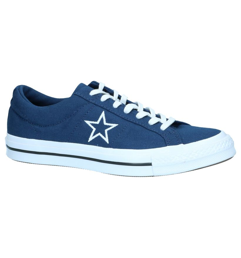 Donkerblauwe Sneakers Converse One Star OX in stof (250013)