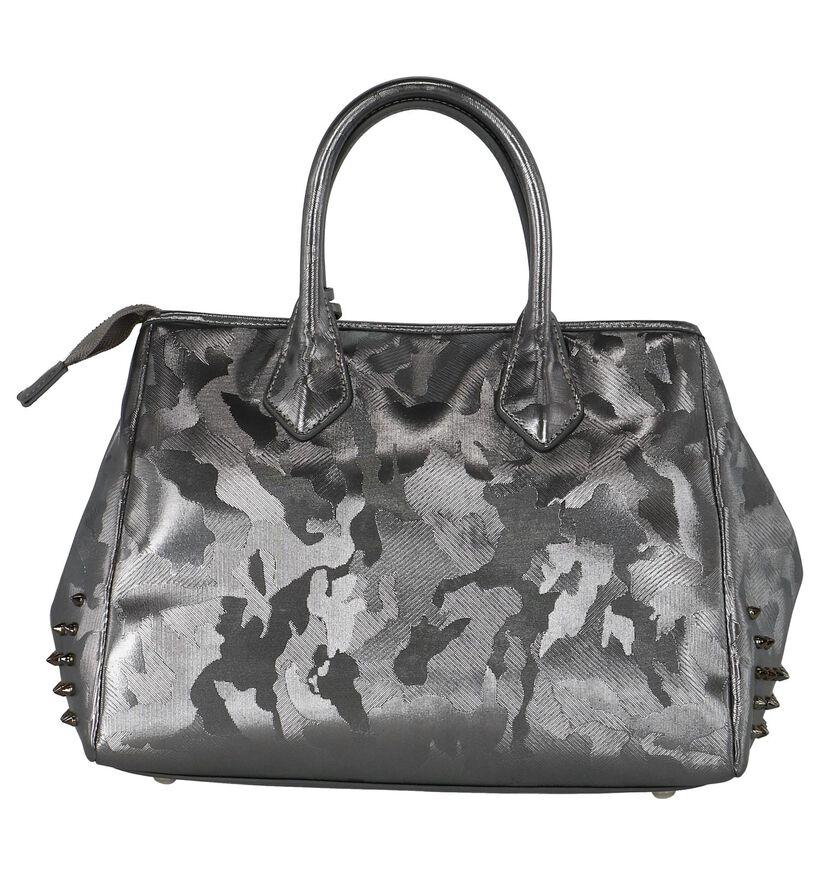 Stoere Zilveren Handtas met Studs Kisses of Pearl in kunstleer (233608)