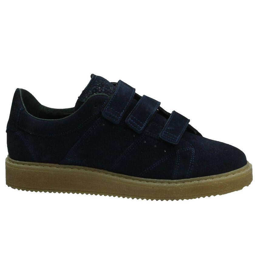 Blauwe Shoecolate Sneaker met Klittenband