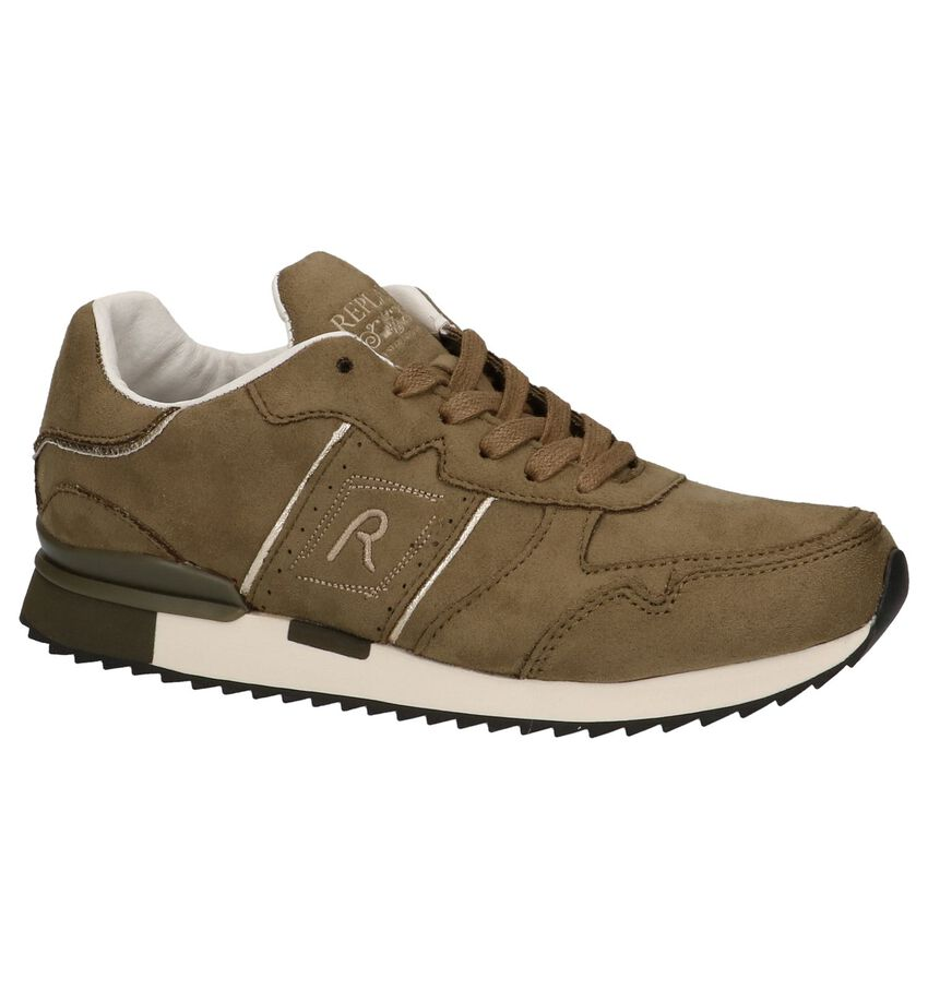 Replay Donkerbeige Veterschoenen