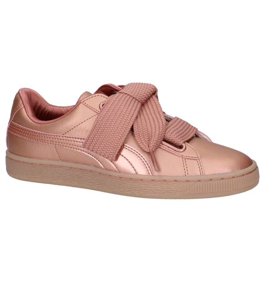 Rose Gold Lage Sneakers Puma Basket Heart