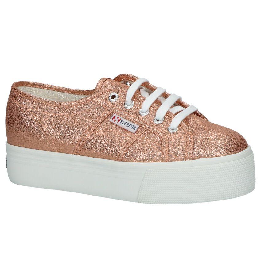 Bronzen Sneakers met Plateauzool Superga