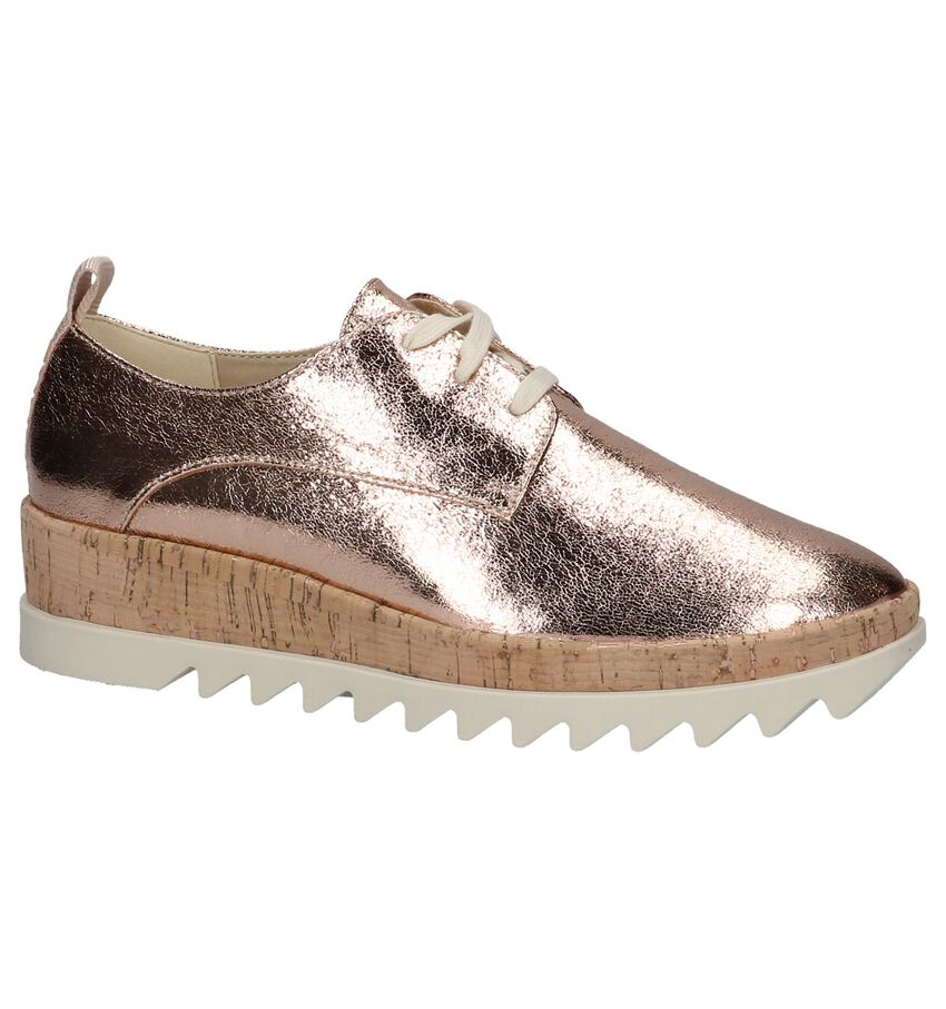 Rose Gold Veterschoen Tommy Hilfiger Metallic Platform Lace Up