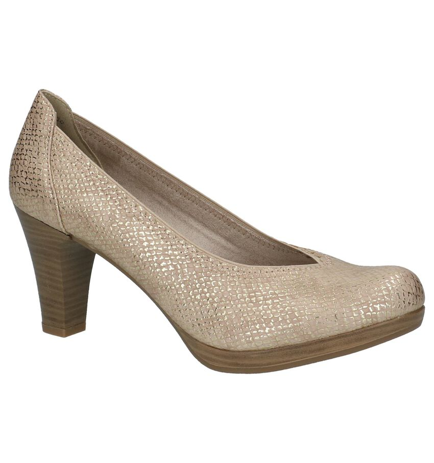Tamaris Taupe Metallic Pumps