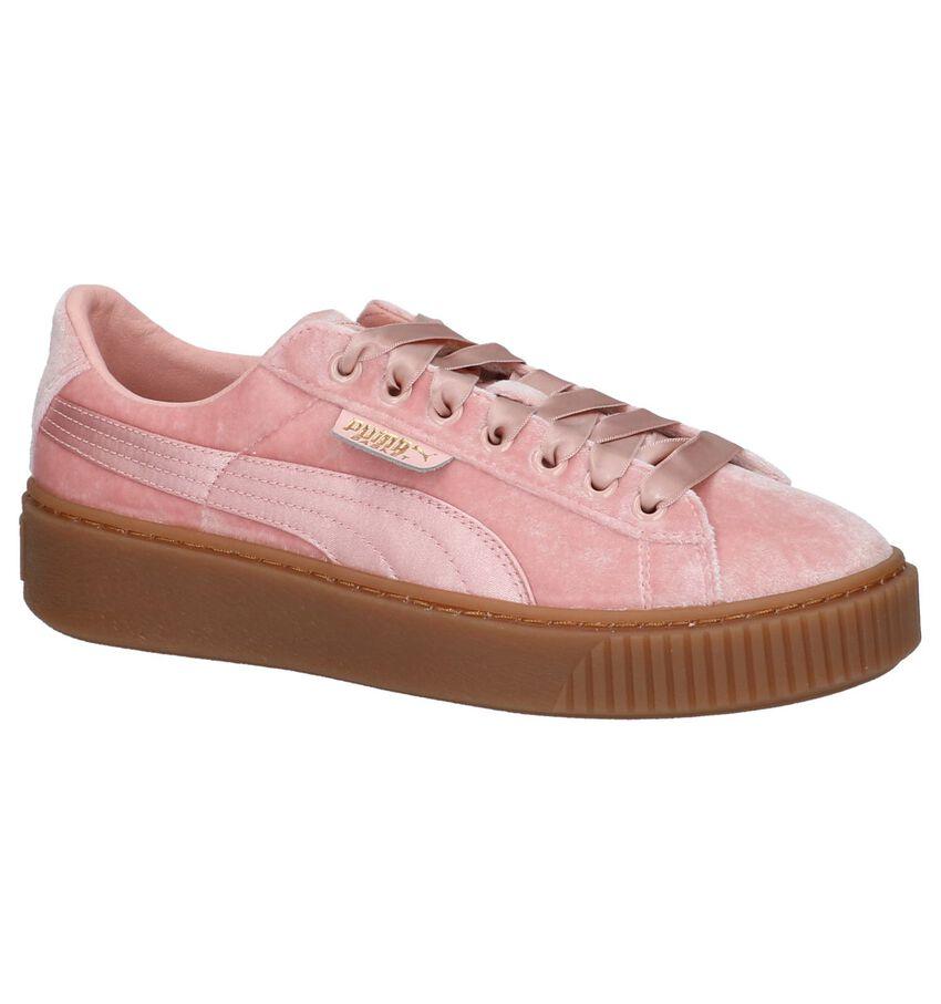 Puma Basket Platform Roze Fluwelen Sneakers