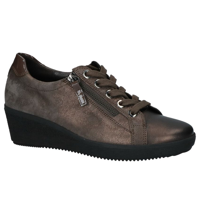 Taupe Veterschoenen met Sleehak Gabor Optifit