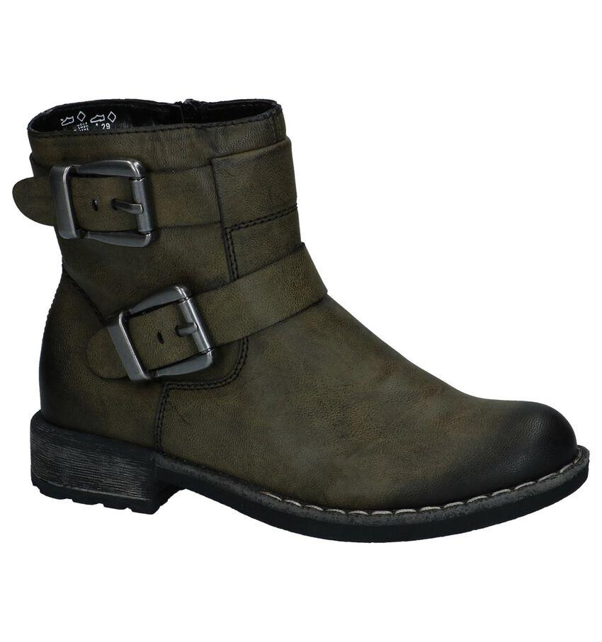 Stoere Kaki Boots met Rits Rieker