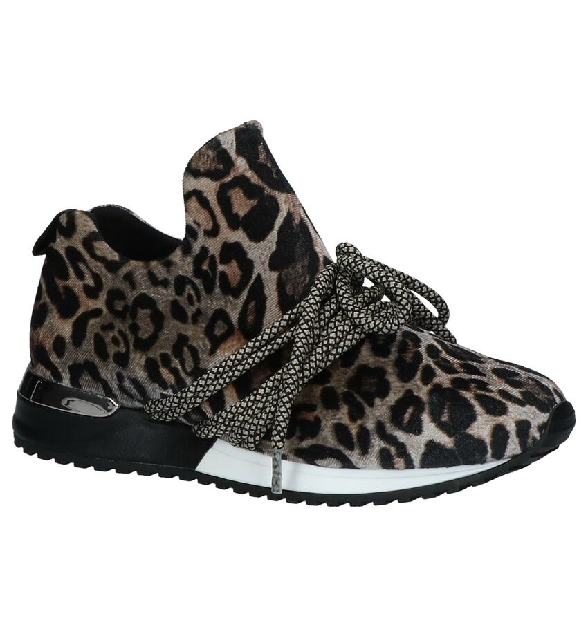 Bruine Slip-on Sneakers met Luipaardprint La Strada