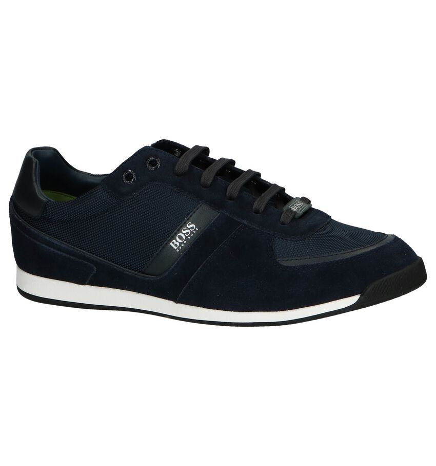 Donkerblauwe Casual Veterschoenen Hugo Boss Glaze Low