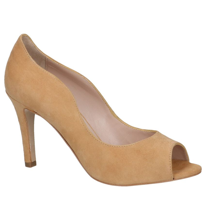 Cognac Pumps met Open Teen Via Limone by Torfs
