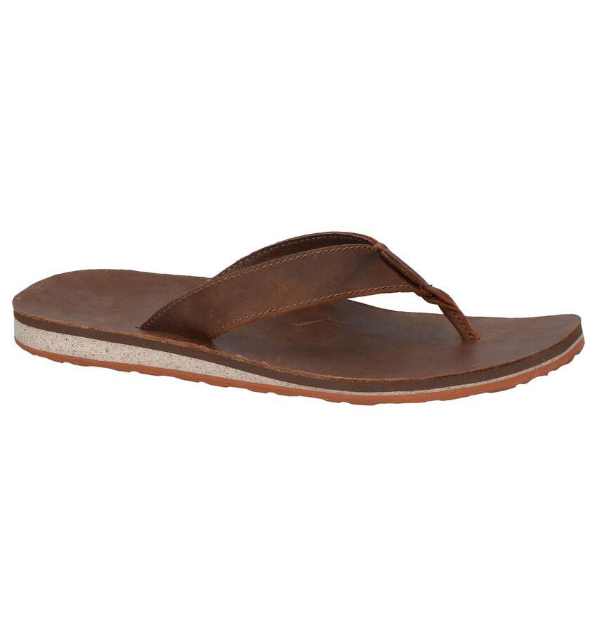 Donkerbruine Teenslippers Teva Classic Flip Premium Leather