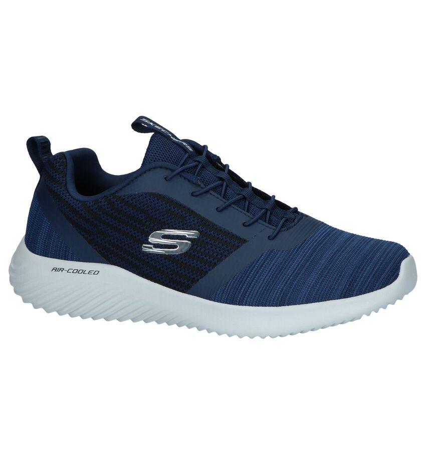 Blauwe Slip-on Sneakers Skechers Memory Foam