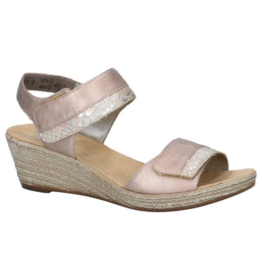 Metallic Roze Sandalen met Sleehak Rieker