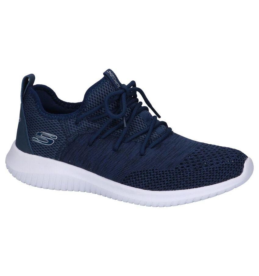 Donkerblauwe Slip-on Sneakers Skechers Ultra Flex Windsong