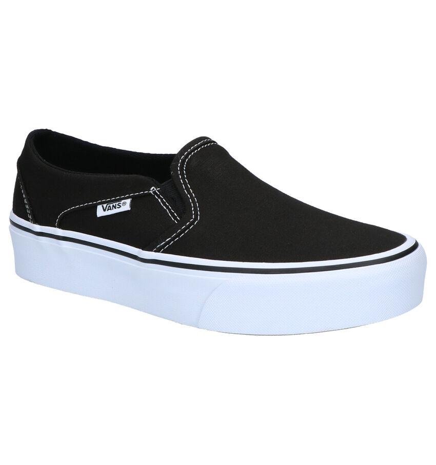 Vans Asher Platform Zwarte Slip-on Skateschoenen