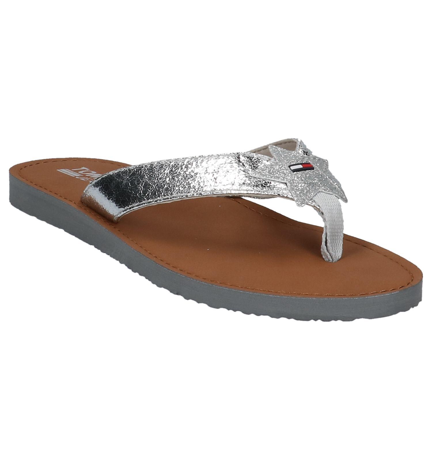 Sandal Hilfiger Tommy Zilveren Glitter Teenslipper Beach PXZuOkiT