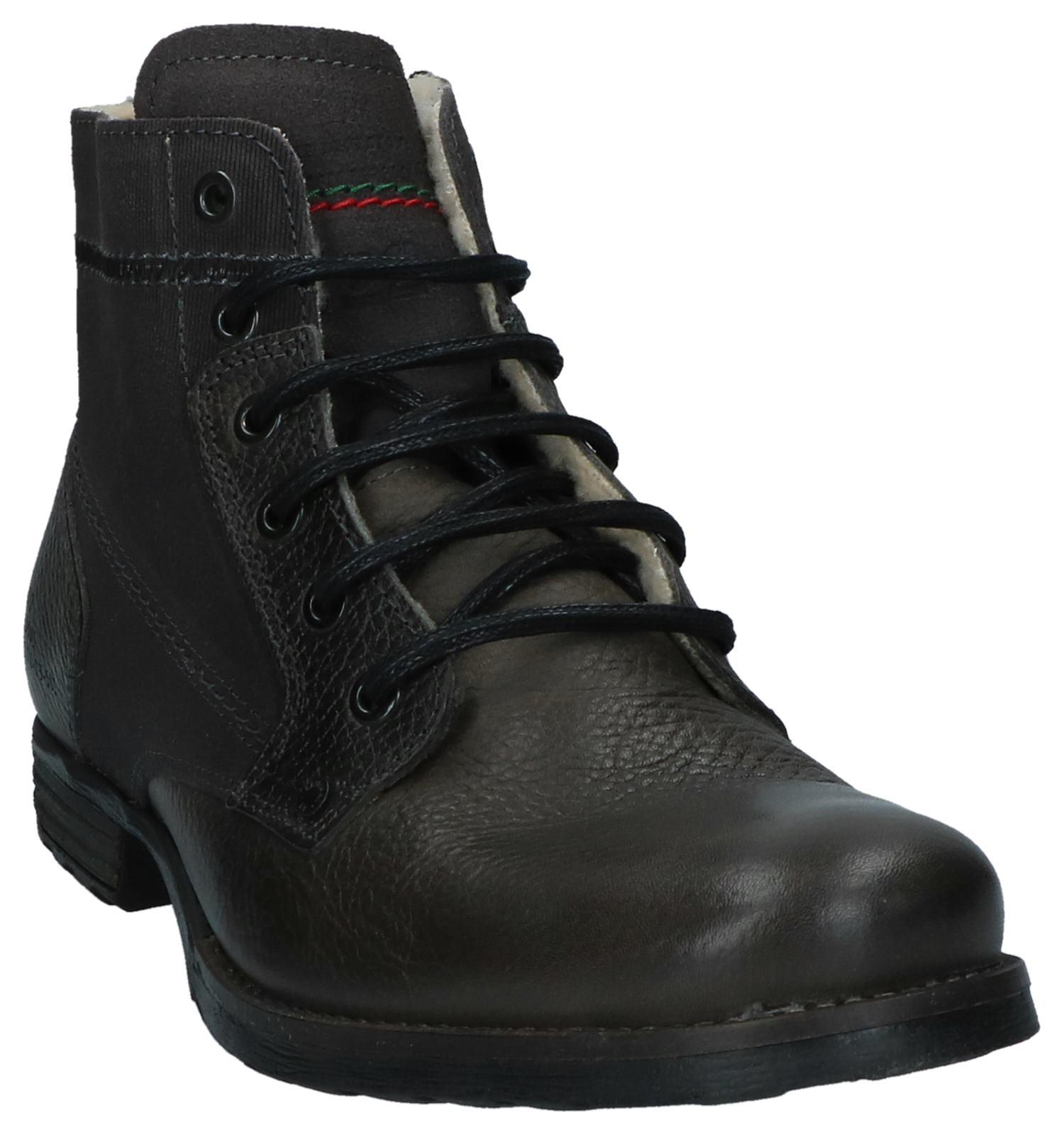 Grijze Bullboxer Boots Met Rits veter Donker 5LRj4A
