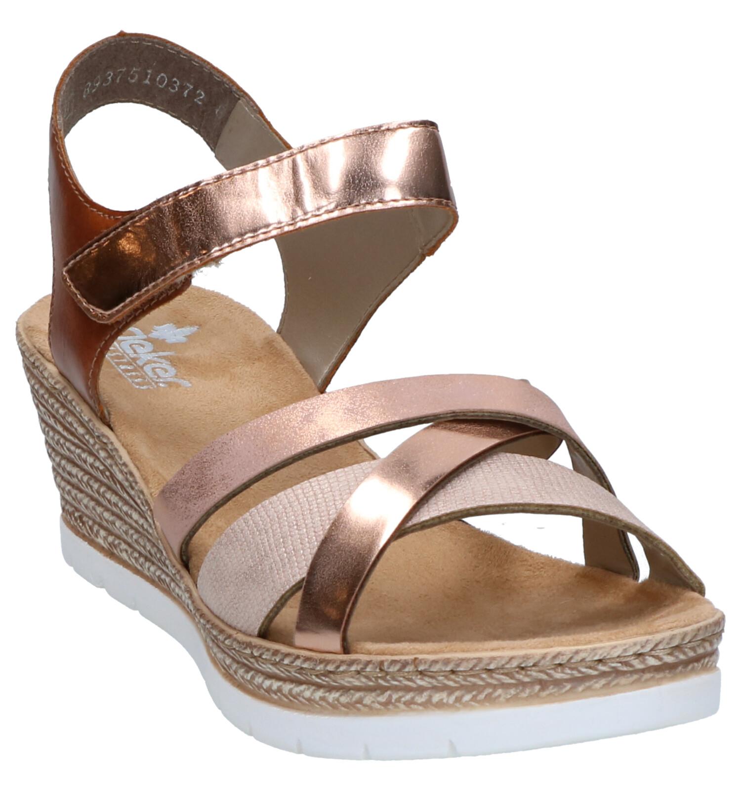 Metallic Roze Sandalen met Sleehak Rieker | TORFS.BE