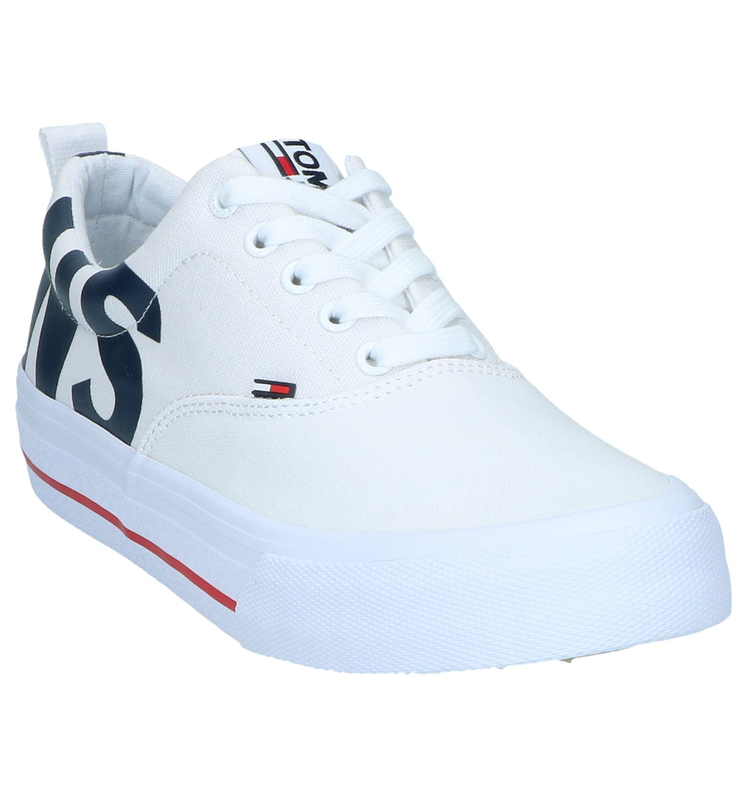 Classic Hilfiger Logo Jeans Sneakers Lage Tommy Witte uPZXik