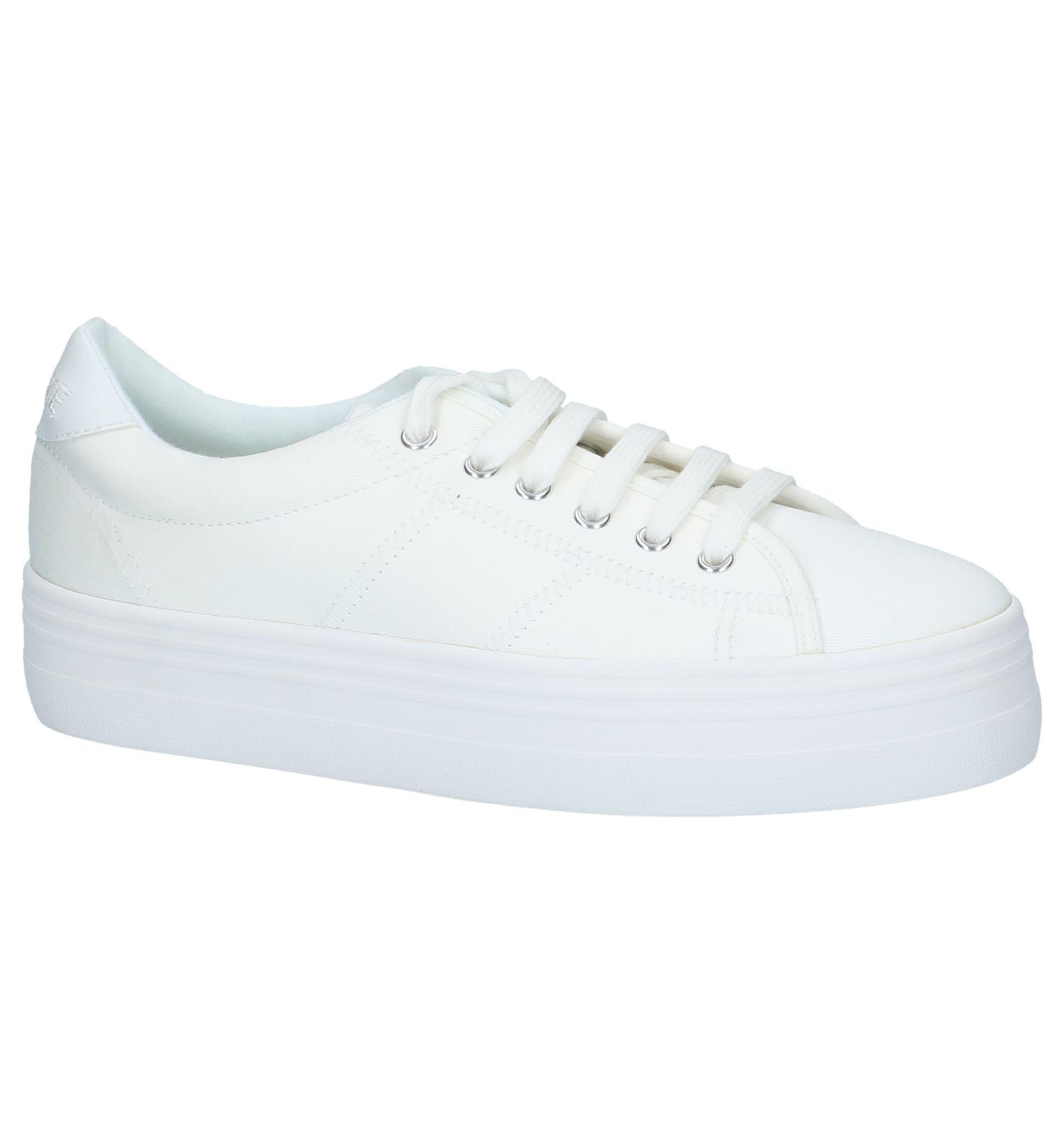 Witte Sneakers met Plateauzool No Name Plato Sneaker | SCHOENENTORFS.NL | Gratis verzend en retour
